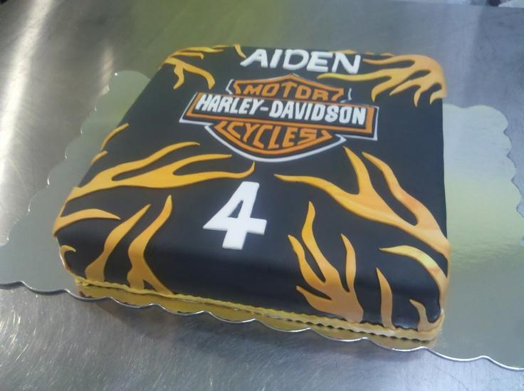 Harley Davidson Cake! The logo is hand carved out of fondant.Harley Davidson, Hands Carvings, Davidson Cake, Stacked Cake