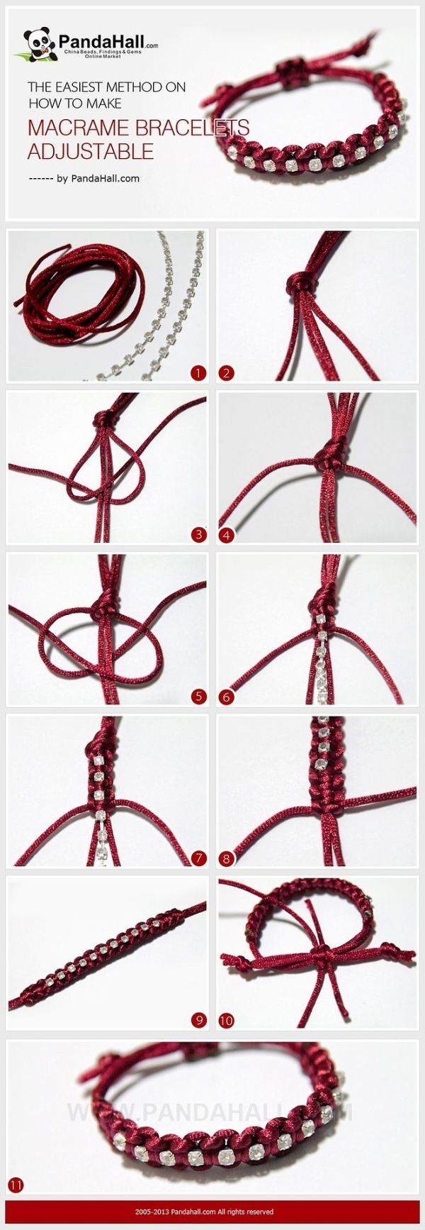 Jewelry Making IdeaHow to Make Adjustable Macrame Bracelets It is another bracelet making tutorial, at meanwhile, I will emphasize the subject about how to make macrame bracelets adjustable in simple way again. Especially for those who learn to knot for just several days, I recomend this. Want to learn it? Click here to check the detailed instructions on PandaHall.com. by meredith