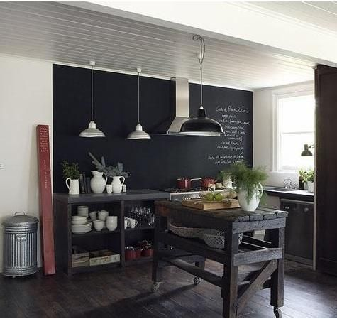 chalk rules.: White Houses, Blackboard Wall, Kitchens Wall, Chalkboards Paintings, Rustic Kitchens, Black Kitchens, Kitchens Islands, Chalk Boards, Chalkboards Wall