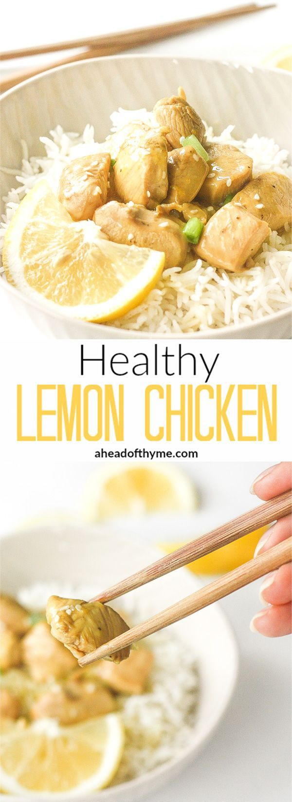 Healthy Lemon Chicken: A twist on a classic sweet and tangy Chinese dish, this healthy version of lemon chicken is quick and easy! | http://aheadofthyme.com