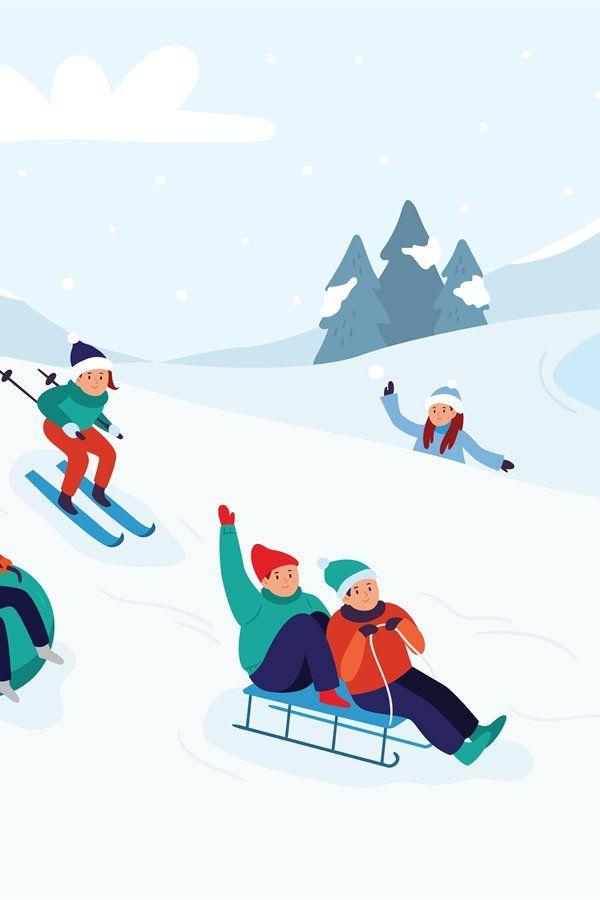 Kids Riding Sledding Slide Snow Landscape Winter Snowy Fun 1008495 Illustrations Design Bundles In 2021 Sled Illustration Snow Illustration Winter Illustration Kids