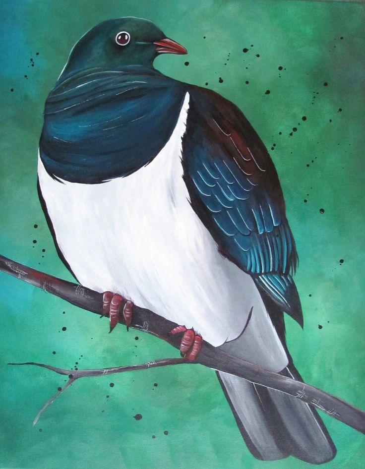 This New Zealand Pigeon/ kererū painting by www.fiona-clarke.com