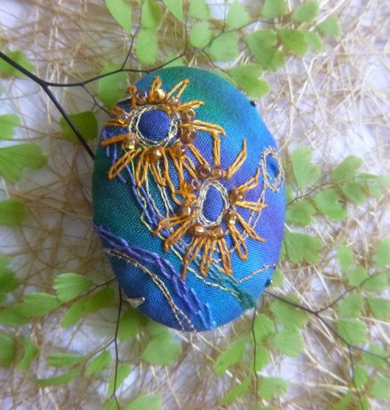 Blue Flowers Embroidered Brooch