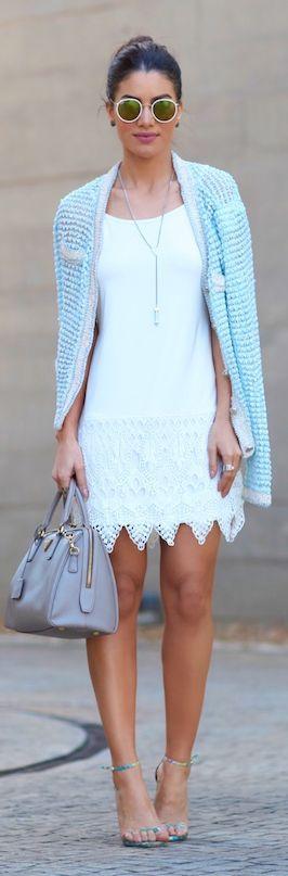 Camila Coelho Light Blue And White Outfit Idea