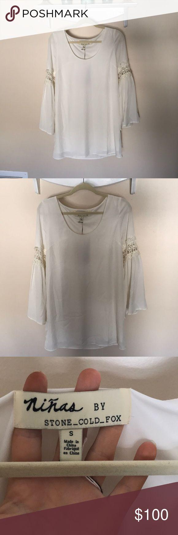 Niñas by Stone Cold Fox White Crochet Bell Sleeve Mini dress. NWT. Stone Cold Fox. Bell sleeve with crochet detail. Stone Cold Fox Dresses Mini