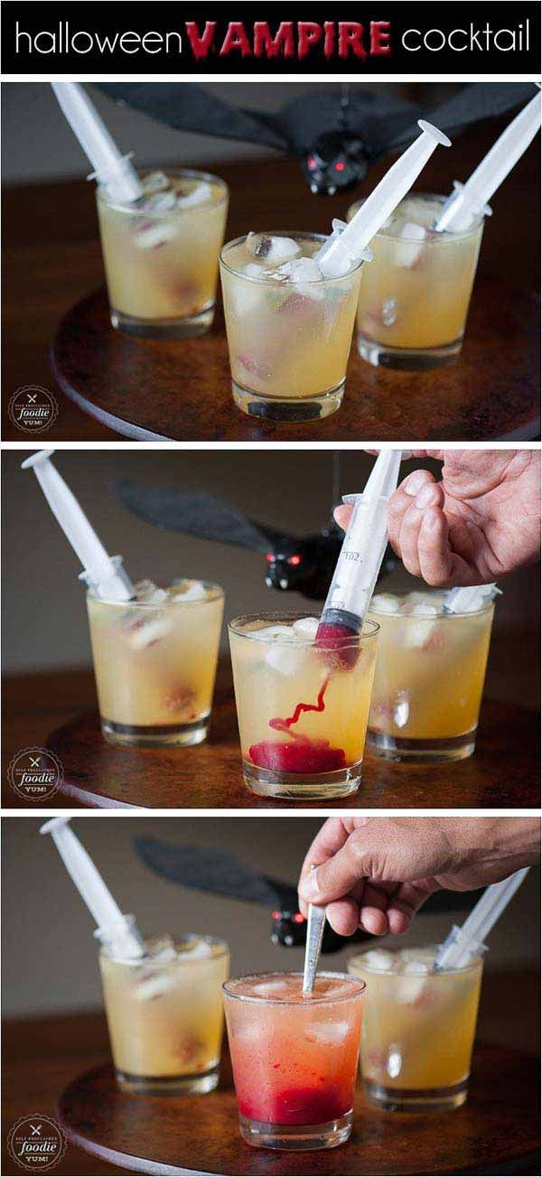 Vampire cocktail - 21 Quick and Fun Last Minute Halloween Crafts and Hacks