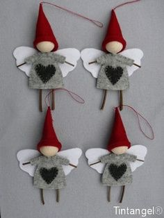 Little Hand Sewn Felted Christmas Fairy Gnome Tree Decorations Kids Craft For Holidays