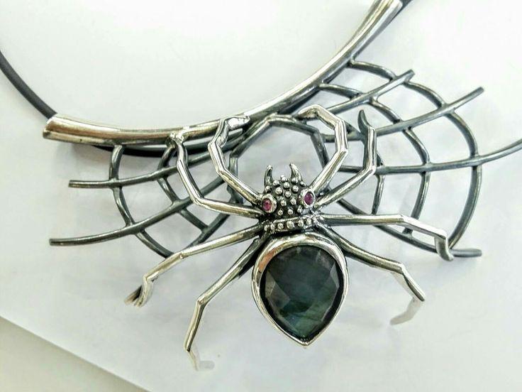 #thelittleshopAthens#spiderweb#spiderjewelry#blackwidow#tarantula#labradorite#rubies #etsy #jewelry #necklace #silver #animals #green #hook #artnouveau #spider #spiderweb http://etsy.me/2yIfYUK
