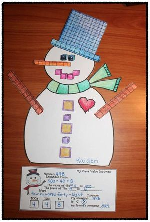 Snowman activities: Place value snowman craft. Completed projects make a terrific January bulletin board, as each child's is different.  They decorate with a variety of 1s, 10s, 100s place value blocks, then determine the value.