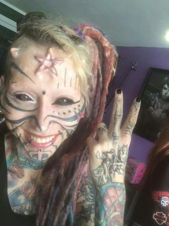 Pierced and tattooed alien princess enjoys human sex toys