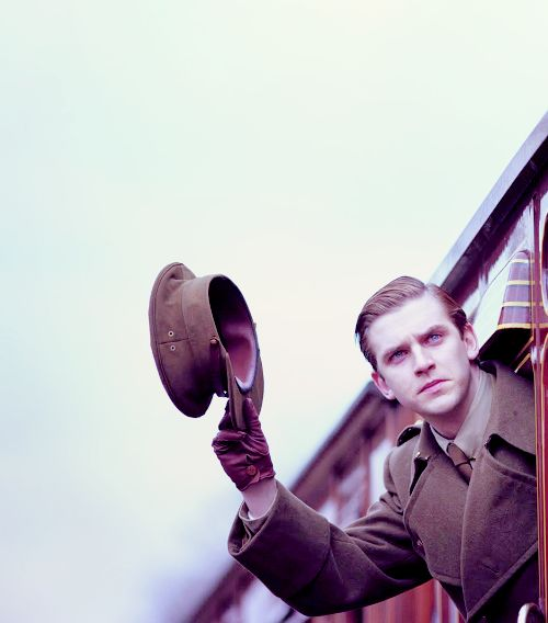 Cousin Matthew, off to war, in Downton Abbey.