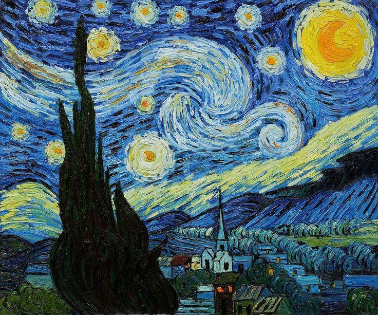 De sterrennacht - Vincent van Gogh (postimpressionisme)   Dit schilderij behoort to de moderne kunst. Van Gogh heeft geschilderd toen hij in een 'ziekenhuis' lag. Ook dit schilderij plaats ik in het theme depressie. Ik interpreteer de blauwe lucht als een teken van depressie (blauw = depressie). Het geel van de maan / sterren staat voor angst, maar ook voor moed. Van Gogh was bang, maar had ook een beetje moed in zich.  ik gebruik 'emotion colour' ook te vinden op mijn pinterest.