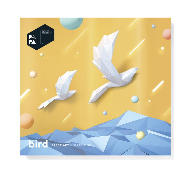 PAPA Bird White Package Front | Play Art. Polygon Art. Do Art Yourself.