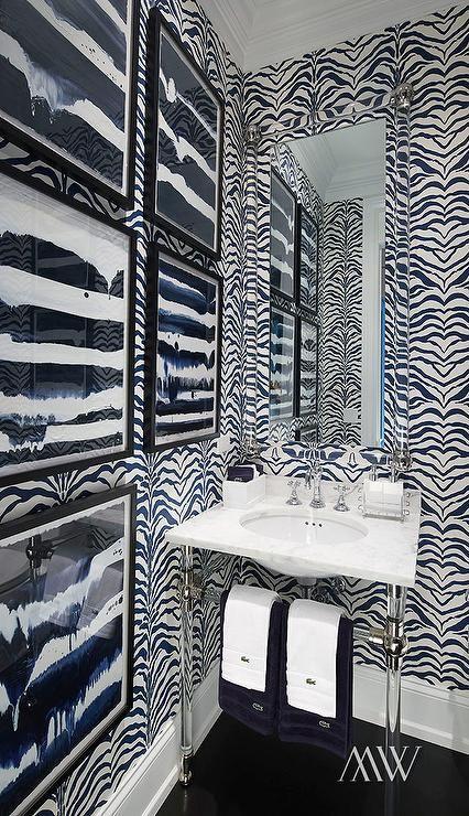 Powder Room with Black and White Zebra Wallpaper Megan Winters Rose Cumming Zebrine lucite pedestal vanity sink