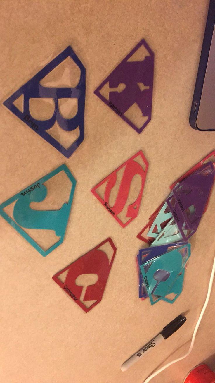 Initial superhero superman door tags