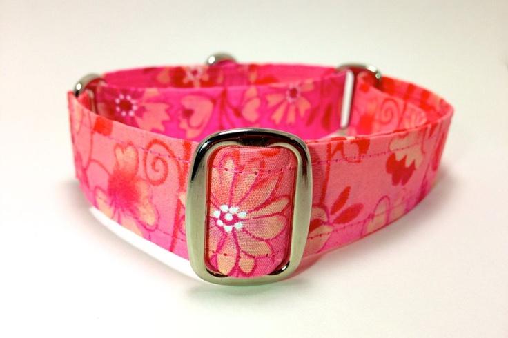 Pink Floral Vines Medium Martingale Dog Collar - Custom Size. $17.00, via Etsy.