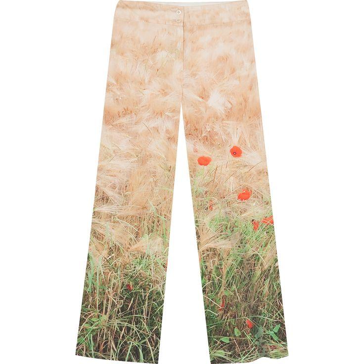 pantalon Coquelicots pantalon imprimé d'une photo de coquelicots réalisée par agnès b.