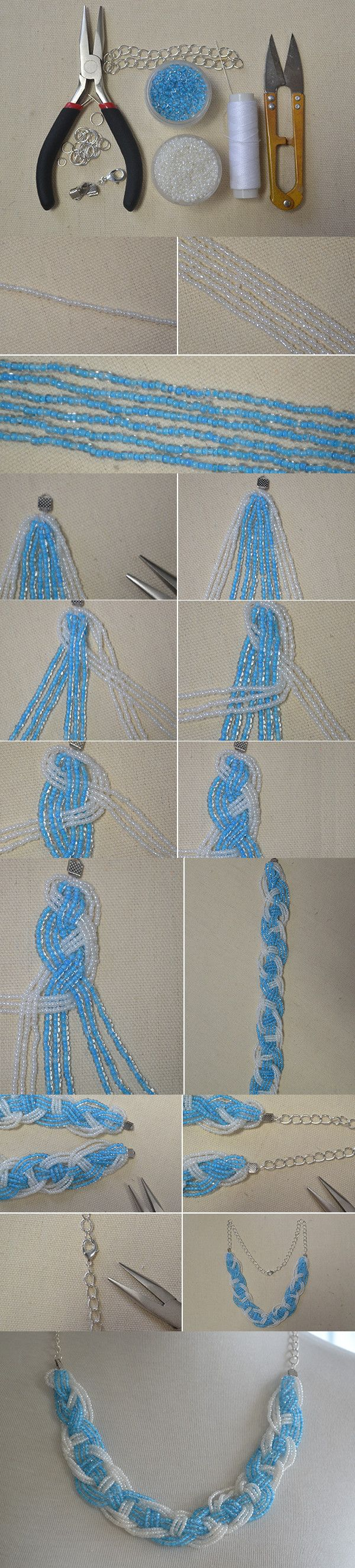 Tutorial on How to Make a Blue Braided Seed Bead Necklace at Home from…