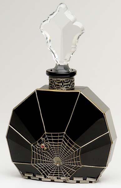 Spider Web Perfume BottleSpider Webs, Fall Decor, Antiques Perfume Bottle, Perfume Bottles, Old Bottle, Artdeco, Black Glasses, Art Deco, Spiders Web