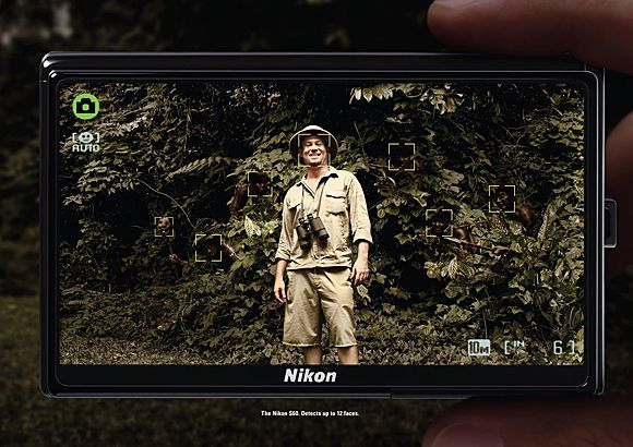 The Nikon S60. Detects up to 12 faces!