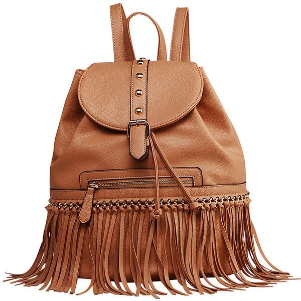 Mkf Collection Monica Elegant  Fringed  Backpack ($34) ❤ liked on Polyvore featuring bags, backpacks, brown, brown bag, fake leather backpack, rucksack bag, brown faux leather bag and backpack bags