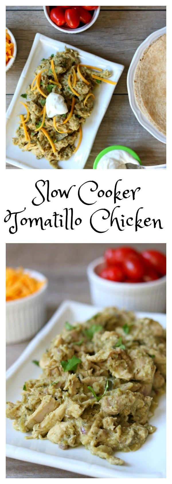 Slow Cooker Tomatillo Chicken Filling: tender, moist pieces of shredded chicken with an almost creamy (but healthy) sauce that is…