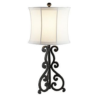 Old World Style Lamp Base With Multi Sided White Linen Shade