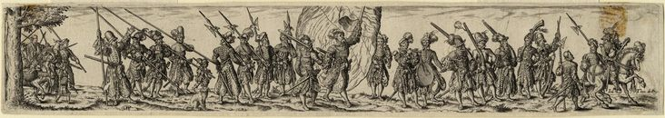 c.1550      Amman, Jost, 1539-1591 (artist)     Bry, Theodor de, 1528-1598 (artist) German Landsknechte on the March, c. 1550 Engraving by Io. Theo. de Bry after Jose Amman; large group of landsknechte on march with mounted officer at head, Fahnenträger in center. Copyright - Anne S.K. Brown Military Collection at Brown University.