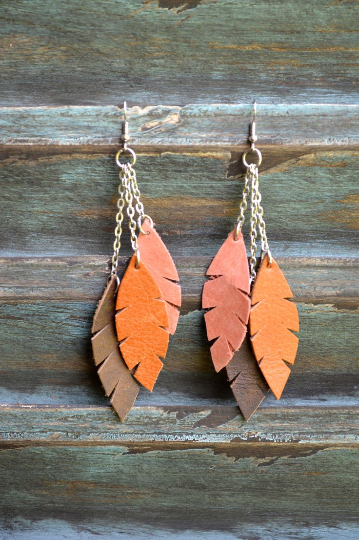 Handmade Leather Earrings from Thailand #135 $15