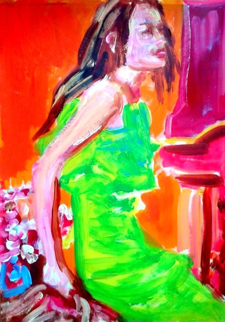 vrouw met groen/gele jurk