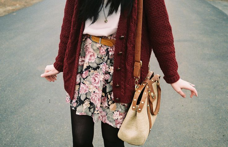 """""""A patterned skirt, tights and oversize cardigan in a saturated color paired with a great long, strapped bag are brilliant #Hannah inspiration."""" -Jenn Rogien"""