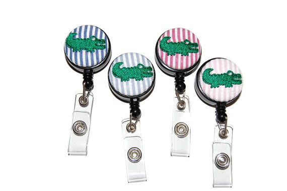 Retractable ID Badge Holder - Personalized Embroidered Green Gator on Preppy Seersucker Badge Reel - You pick color - RN LPN