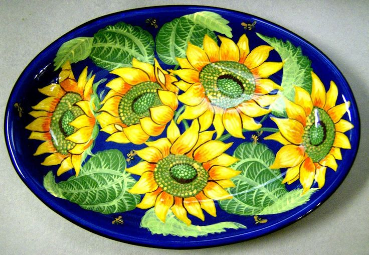 Sunflower oval platter, an old pattern painted by artist Geoff Graham at Cinnabar Ceramics, Vallejo, CA (Formerly Ukiah, CA)