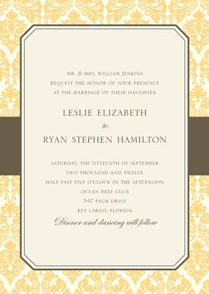 Designer Damask  - Signature White Wedding Invitations - simplyput by Ashley Woodman - Cream - Yellow : Front