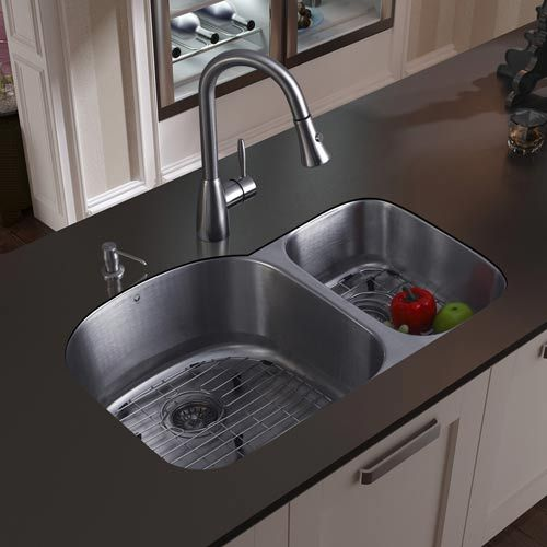 undermount stainless steel kitchen sink faucet two grids two strainers and dispenser vi - Kitchen Sink Double
