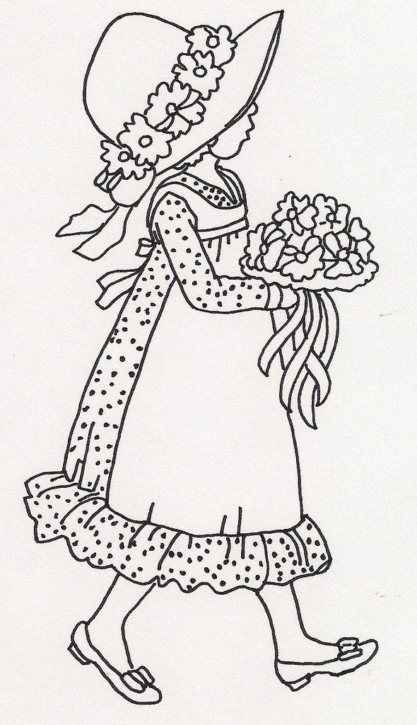 Girl Walking w Bouquet
