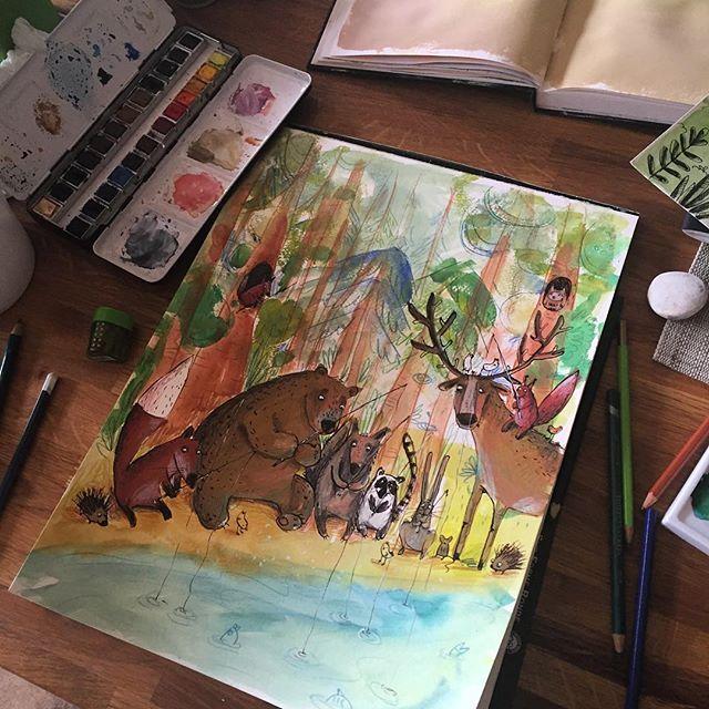 Stage two - turn colored blobs into these guys :) 🌐 рисуем лес для #денькрокодила  У меня в лесу открыт сезон рыбалки #drawingoftheday #drawing #illustration #sketchdaily #childrenillustration #arts_help #art_we_inspire #topcreator #иллюстрация #детскаяиллюстрация #рисуйкаждыйдень