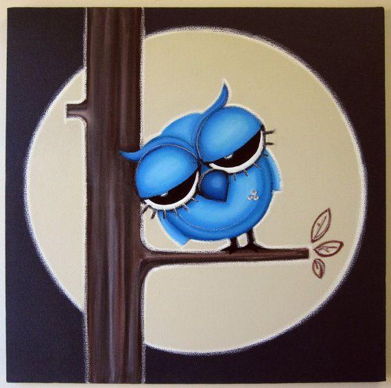 sLEEPy oWL - 24x24 original acrylic painting - FREE SHIPPING - owl art