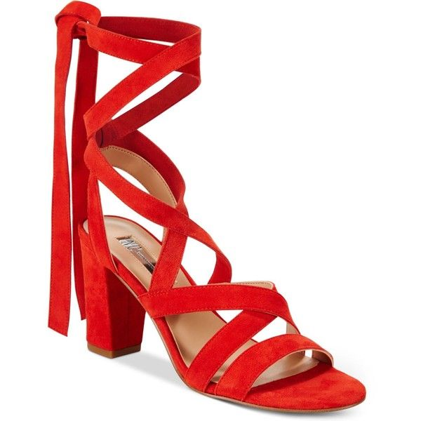 Inc International Concepts Kailey Lace-Up Block-Heel Sandals, ($100) ❤ liked on Polyvore featuring shoes, sandals, spring red, heeled sandals, strap sandals, criss cross strap sandals, strappy lace up sandals and strappy sandals