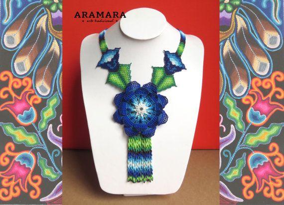 Huichol blue flowers necklace by Aramara on Etsy (www.etsy.com/uk/people/Aramara)