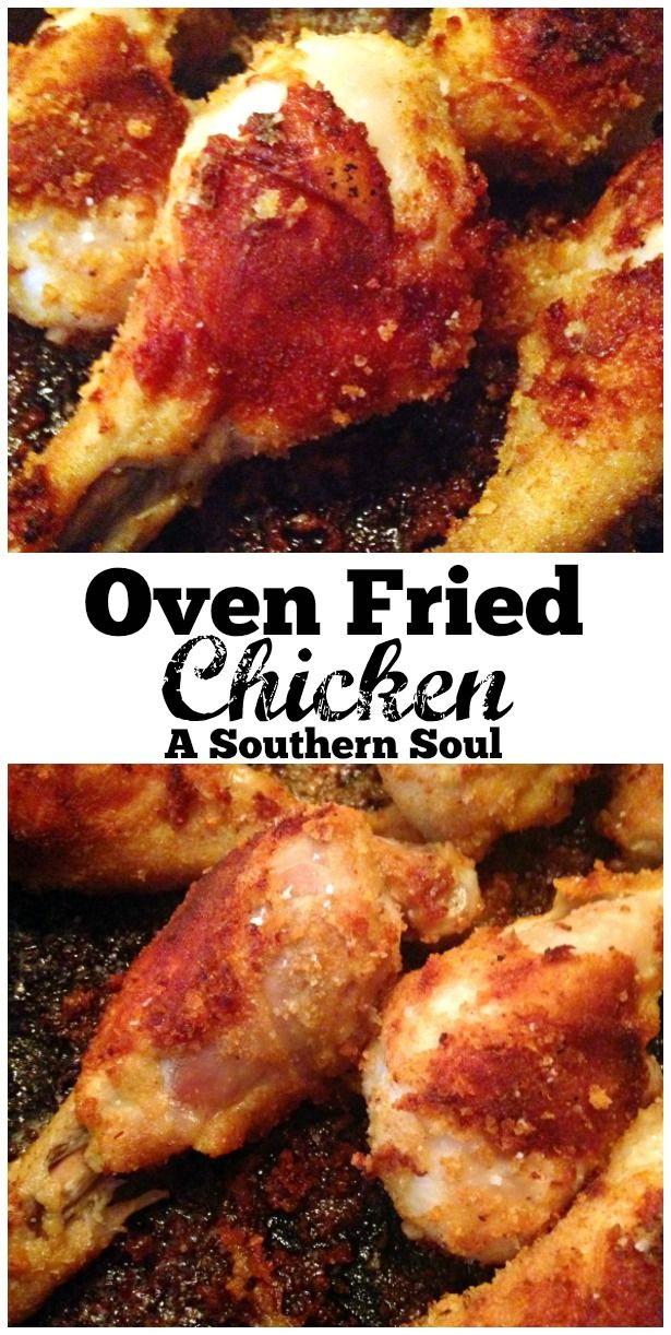 Oven fried chicken that's crunchy on the outside & juicy on the inside. It's super easy to make with the help of your cast iron skillet. | A Southern Soul