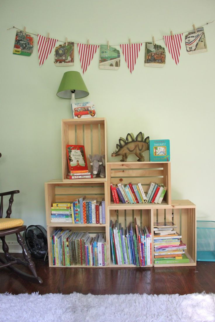 DIY crate book shelves.