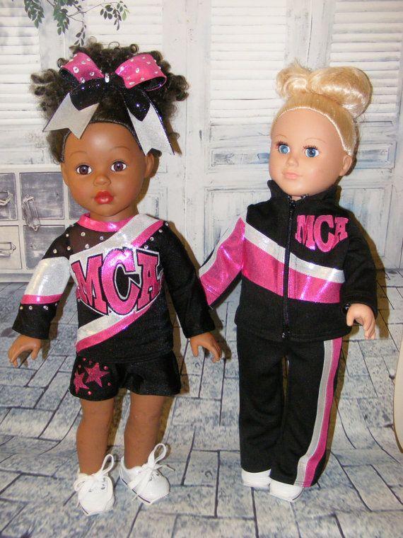 "American Girl Doll Custom Cheer Uniform (1) MCA Cheer Uniform & Bow (1) Warm ups set for 18"" dolls"