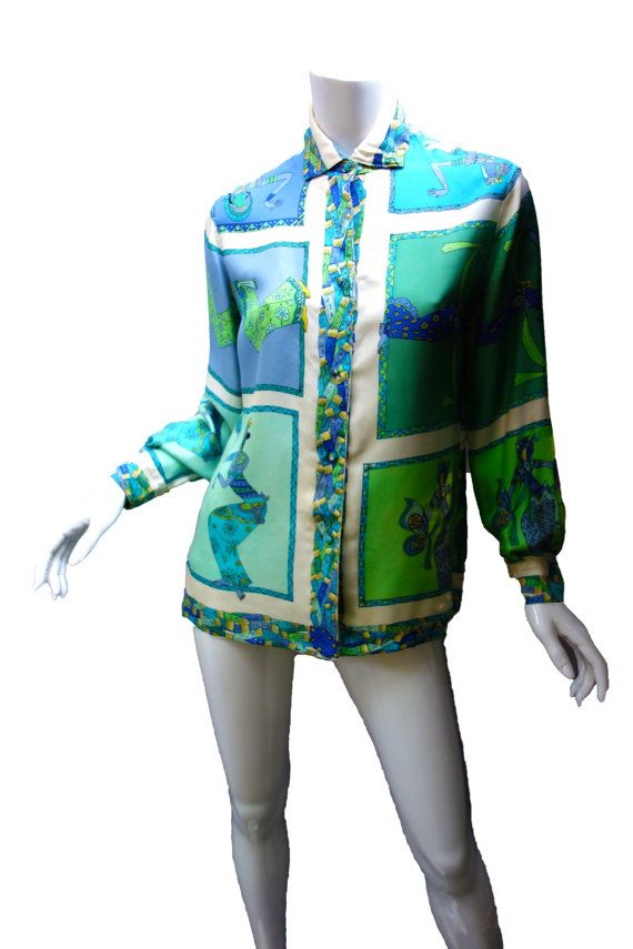 EMILIO PUCCI Vintage 60s Silk Blouse by Vintageables on Etsy