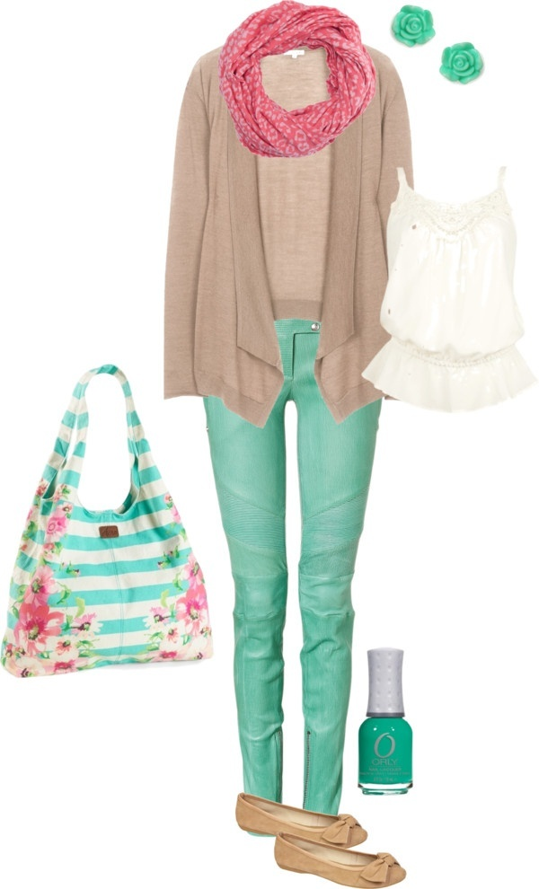 Spring outfit with mint green jeans, floral bag, pink scarf Perfect for spring time