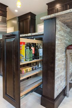 Pull-out spice & oils rack-Pull-out storage on the island is a great spot for spices, oils and cooking wine.  http://www.kmrenovate.com