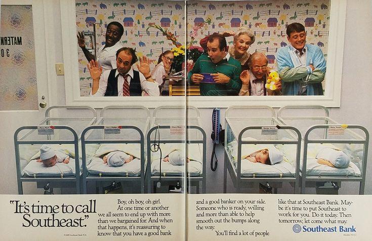 1986 Southeast Bank Vintage Ad - Newborn Babies In Hospital Nursery