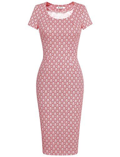 6da41a8fd991 MUXXN Women's 50s Vintage Chic Short Sleeve Casual Pencil Dress ...