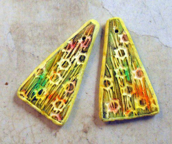 Artisan Beads Yellow Earring Elements Monet's by MargitBoehmer