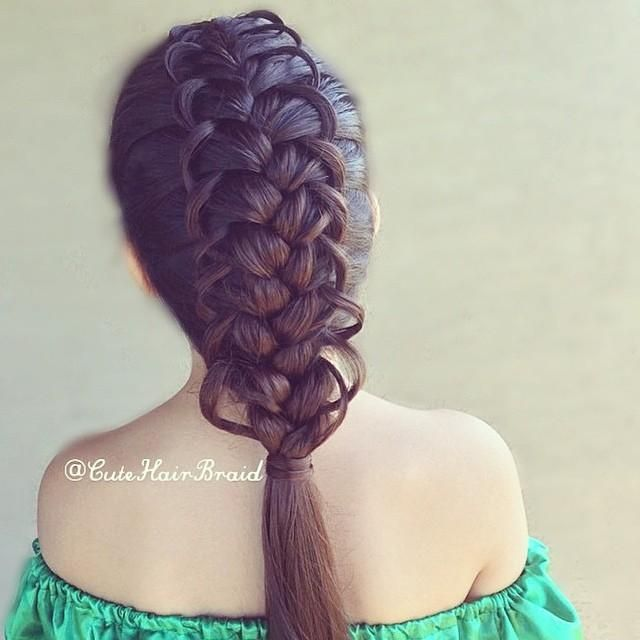 French looped braid finished into a ponytail